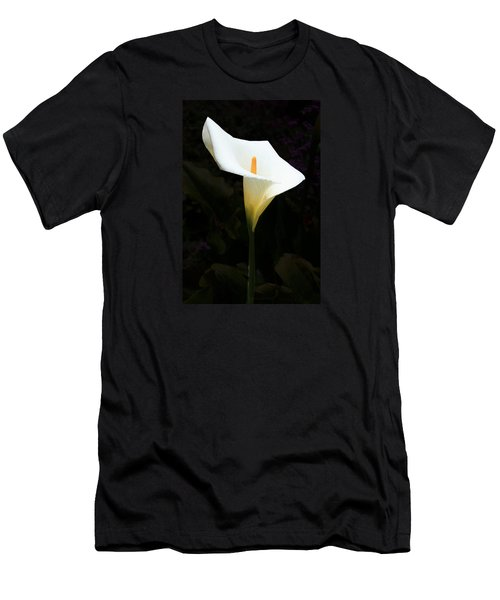 Men's T-Shirt (Slim Fit) featuring the photograph Lily On Black by Nareeta Martin