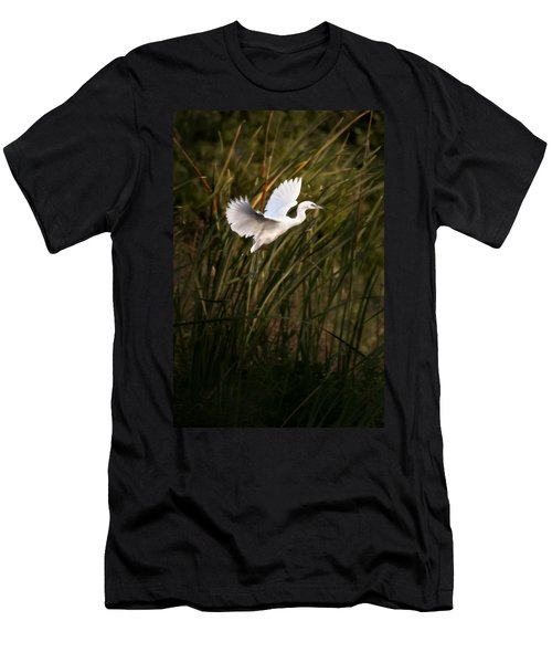 Men's T-Shirt (Slim Fit) featuring the photograph Little Blue Heron On Approach by Steven Sparks