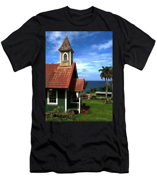 Little Green Church In Hawaii Men's T-Shirt (Slim Fit) by Dorothy Cunningham