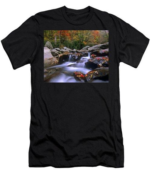 Little Pigeon River Cascading Among Men's T-Shirt (Athletic Fit)