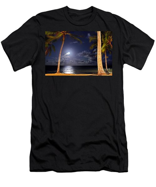 Maceio - Brazil - Ponta Verde Beach Under The Moonlit Men's T-Shirt (Athletic Fit)
