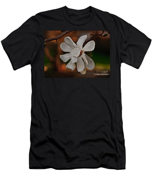Men's T-Shirt (Slim Fit) featuring the photograph Magnolia Bloom by Barbara McMahon
