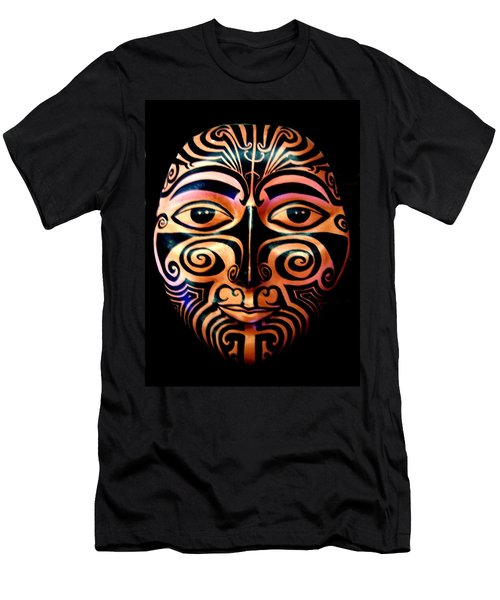 Men's T-Shirt (Athletic Fit) featuring the sculpture Maori Mask by Michelle Dallocchio