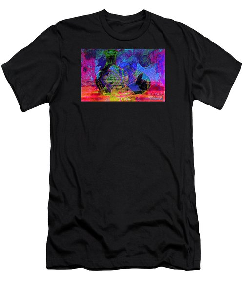 Men's T-Shirt (Slim Fit) featuring the painting Mapped In Time  Pottery Collection by Sherri  Of Palm Springs