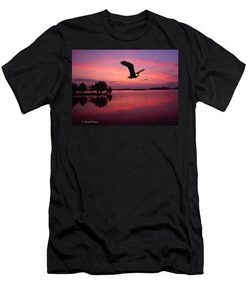 Men's T-Shirt (Slim Fit) featuring the photograph Mauve Sundown Eagle  by Randall Branham