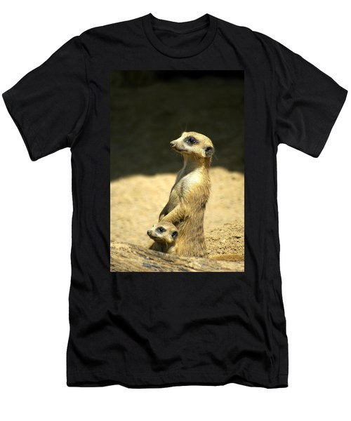Meerkat Mother And Baby Men's T-Shirt (Athletic Fit)