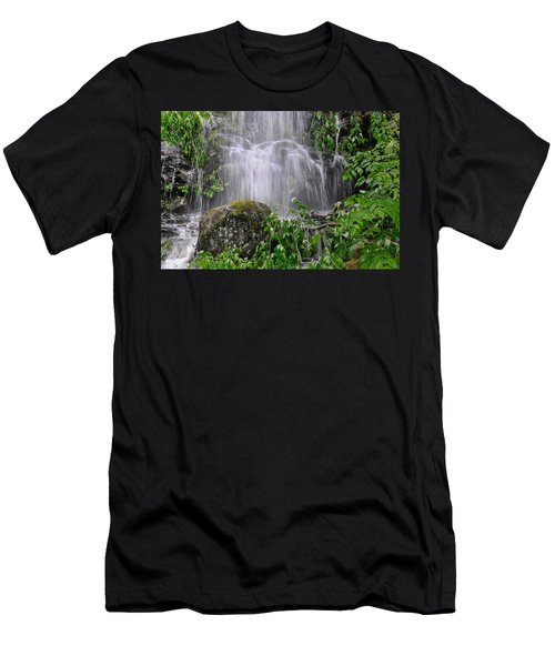 Mendenhall Glacier Flooding Waterfall Juneau Alaska 1542 Men's T-Shirt (Slim Fit) by Michael Bessler