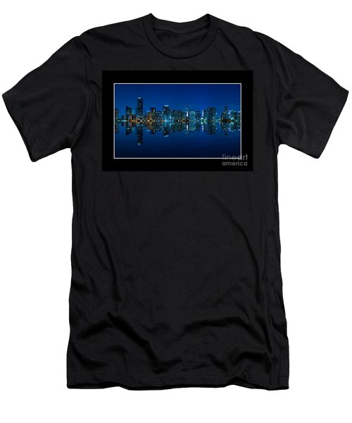 Men's T-Shirt (Slim Fit) featuring the photograph Miami Skyline Night Panorama by Carsten Reisinger