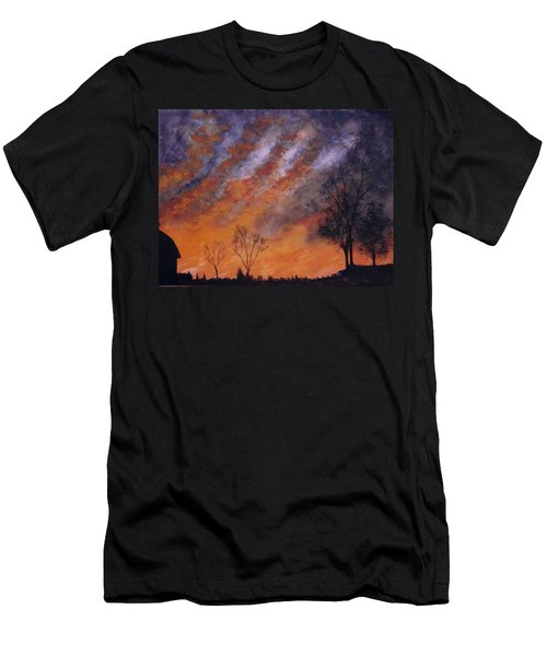 Men's T-Shirt (Slim Fit) featuring the painting Midwest Sunset by Stacy C Bottoms