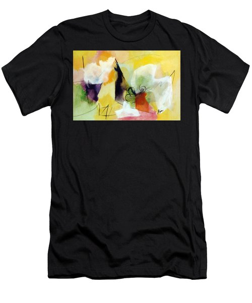 Modern Art With Yellow Black Red And Fanciful Clouds Men's T-Shirt (Athletic Fit)