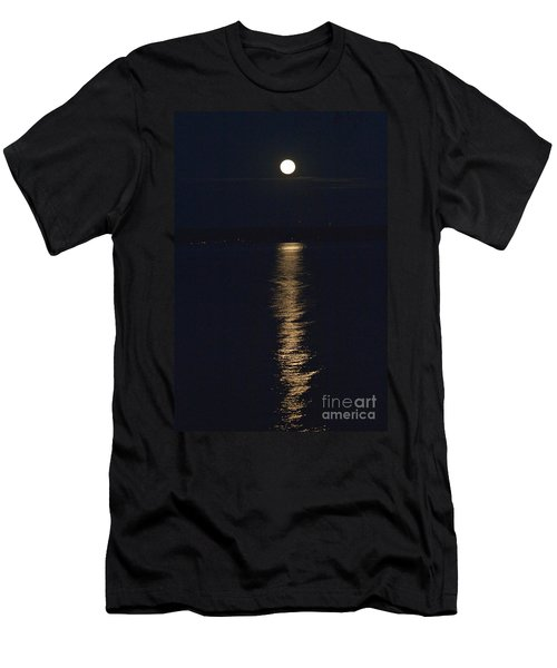 Men's T-Shirt (Slim Fit) featuring the photograph Moon Over Seneca Lake by William Norton