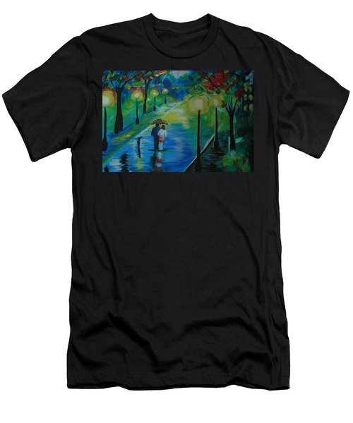 Men's T-Shirt (Slim Fit) featuring the painting Moonlight Stroll Series 1 by Leslie Allen