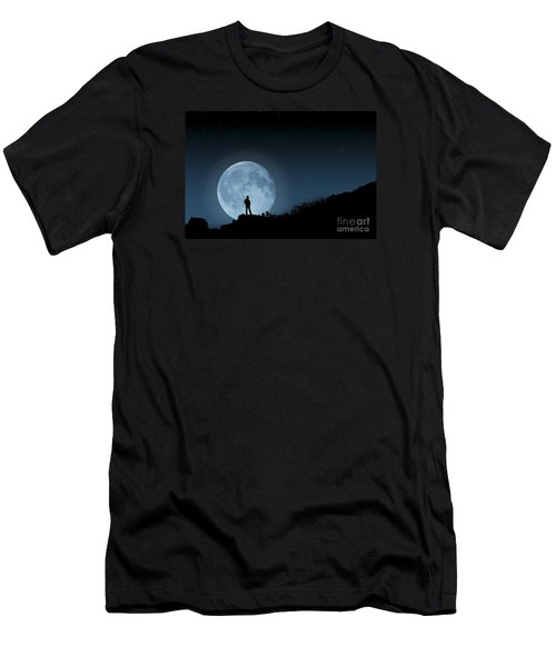 Men's T-Shirt (Slim Fit) featuring the photograph Moonlit Solitude by Steve Purnell