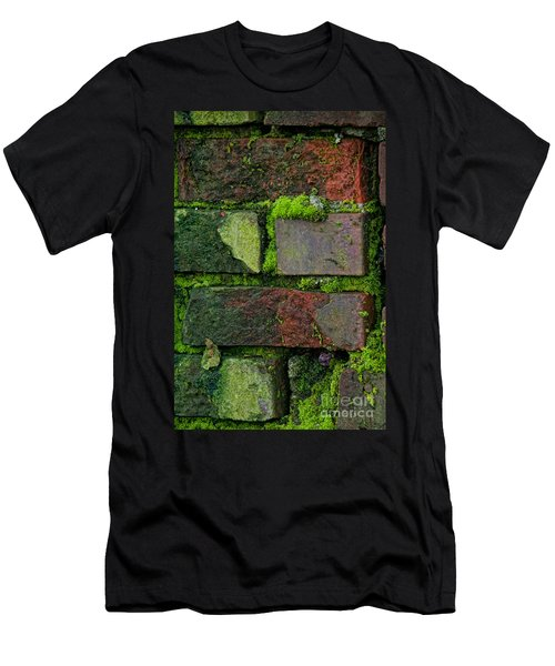 Mossy Brick Wall Men's T-Shirt (Slim Fit) by Carol Ailles