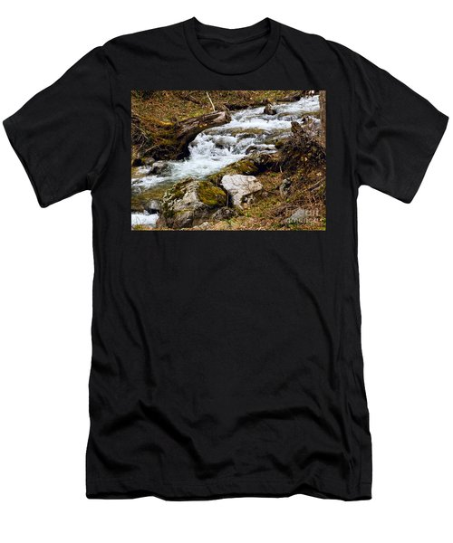 Men's T-Shirt (Slim Fit) featuring the photograph Mountain Stream by Les Palenik