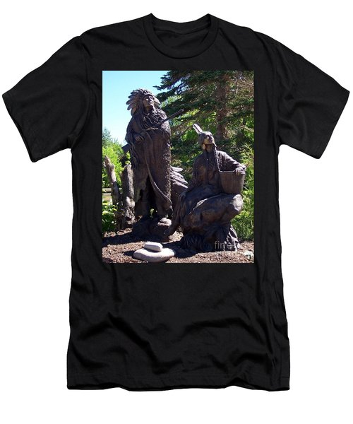 Men's T-Shirt (Slim Fit) featuring the photograph Native American Statue by Chalet Roome-Rigdon