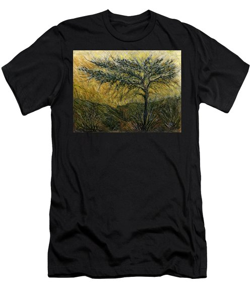 Nature Landscape Green Thorns Acacia Tree Flowers Sunset In Yellow Clouds Sky  Men's T-Shirt (Athletic Fit)
