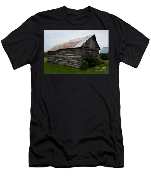 Men's T-Shirt (Slim Fit) featuring the photograph Old Log Building by Barbara McMahon