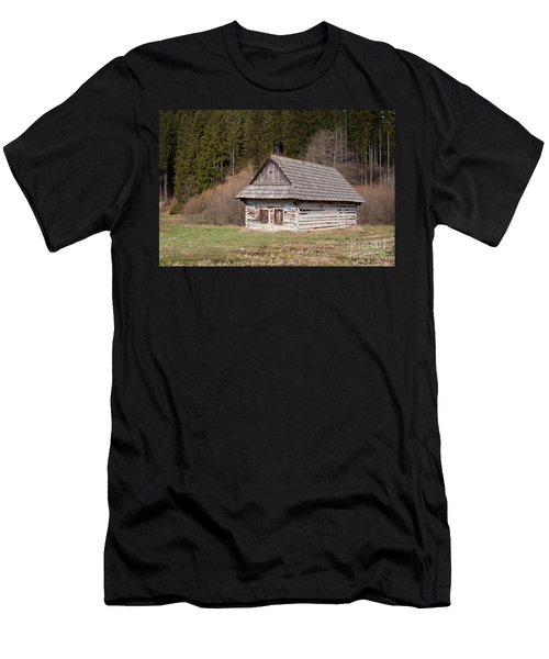 Men's T-Shirt (Slim Fit) featuring the photograph Old Log House by Les Palenik