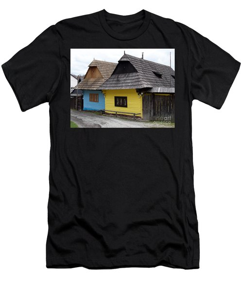 Men's T-Shirt (Slim Fit) featuring the photograph Old Wooden Homes by Les Palenik