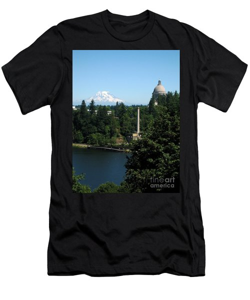 Olympia Wa Capitol And Mt Rainier Men's T-Shirt (Athletic Fit)