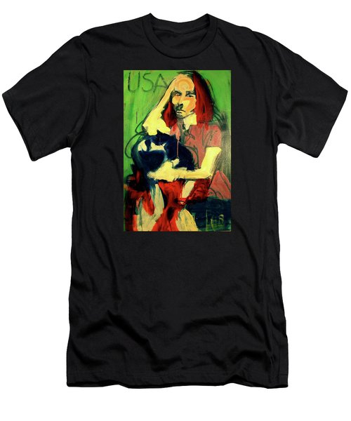 Men's T-Shirt (Slim Fit) featuring the painting Patty Smyth by Les Leffingwell