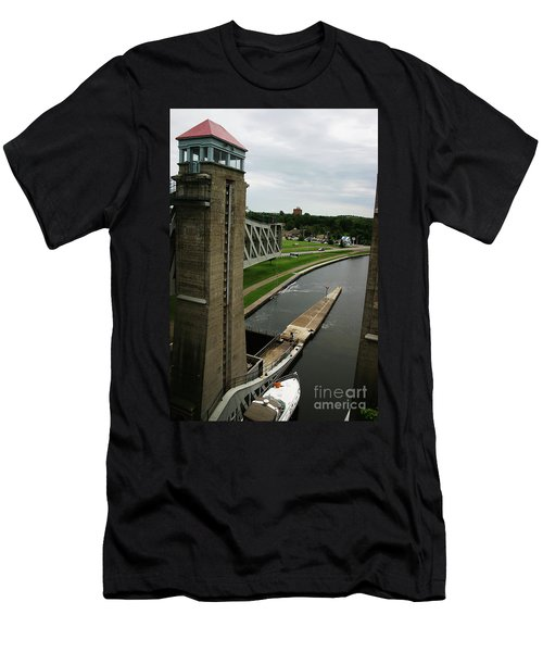 Men's T-Shirt (Slim Fit) featuring the photograph Peterborough Lift Lock by Alyce Taylor