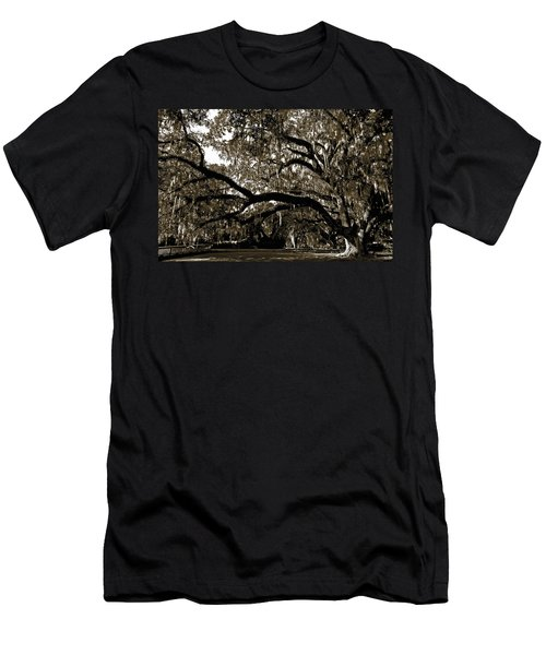 Men's T-Shirt (Slim Fit) featuring the photograph Picnic Under The Oak by DigiArt Diaries by Vicky B Fuller
