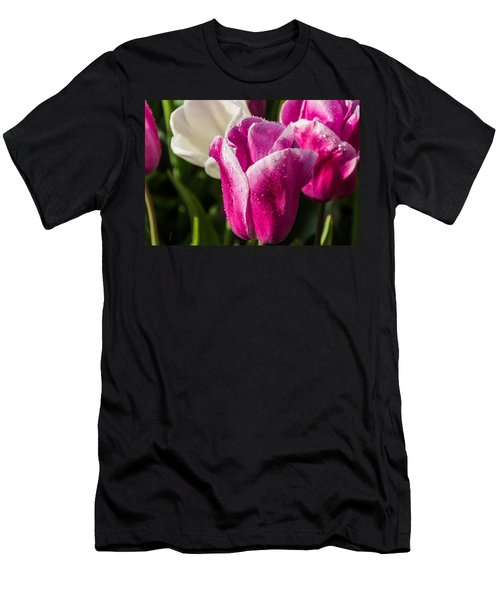 Men's T-Shirt (Slim Fit) featuring the photograph Pink Tulip by David Gleeson