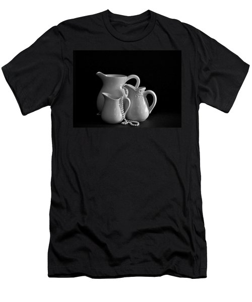 Pitchers By The Window In Black And White Men's T-Shirt (Slim Fit) by Sherry Hallemeier