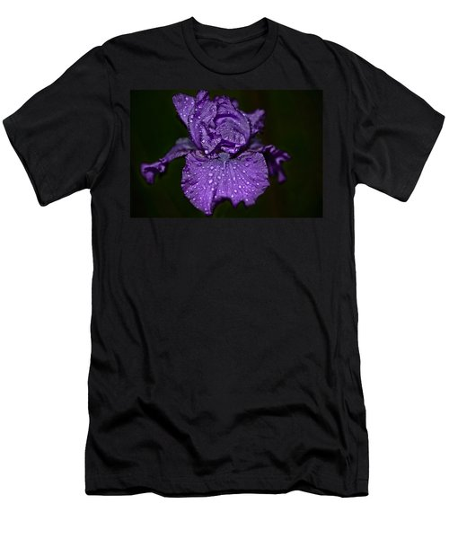 Purple Iris With Water Drops Men's T-Shirt (Athletic Fit)