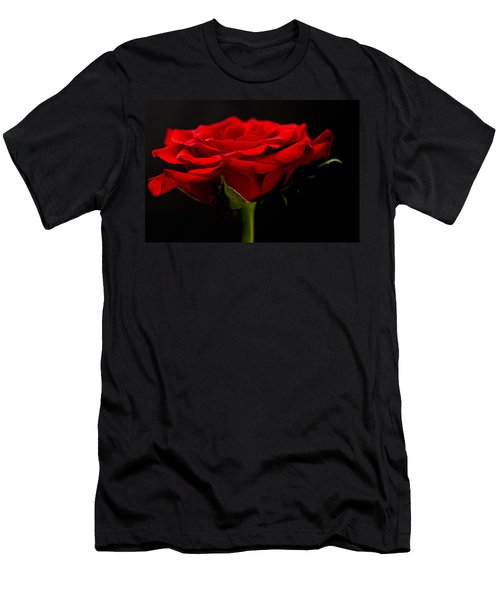 Men's T-Shirt (Slim Fit) featuring the photograph Red Rose by Steve Purnell