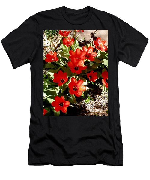 Men's T-Shirt (Slim Fit) featuring the photograph Red Tulips by David Pantuso