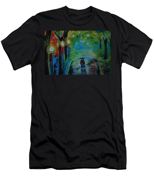 Men's T-Shirt (Slim Fit) featuring the painting Romantic Stroll Series 1 by Leslie Allen