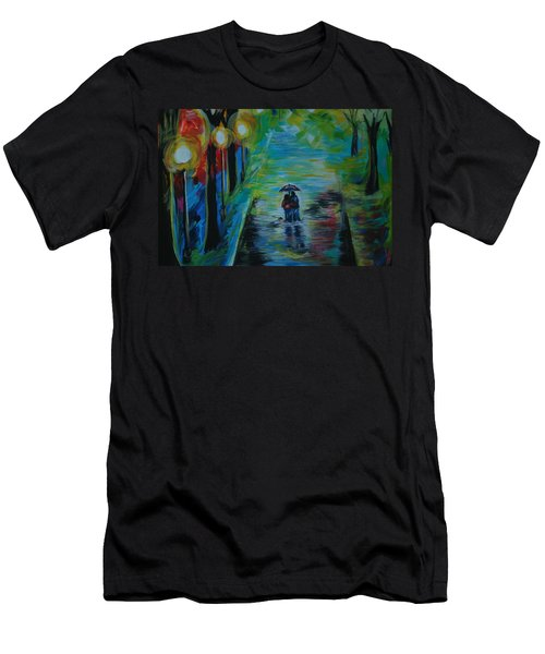 Men's T-Shirt (Slim Fit) featuring the painting Romantic Stroll Series II by Leslie Allen