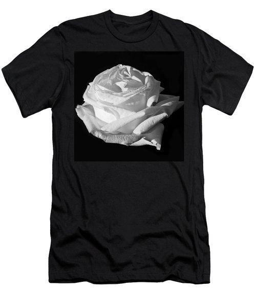 Men's T-Shirt (Slim Fit) featuring the photograph Rose Silver Anniversary Monochrome by Steve Purnell