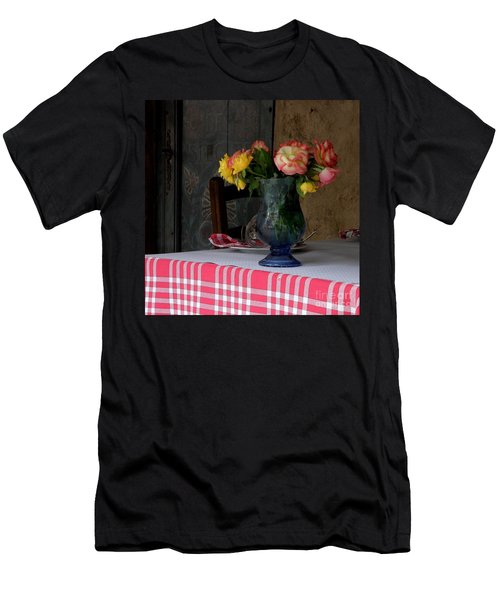 Men's T-Shirt (Slim Fit) featuring the photograph Roses In Blue Glass Vase by Lainie Wrightson