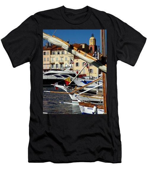 Saint Tropez Harbor Men's T-Shirt (Slim Fit) by Lainie Wrightson