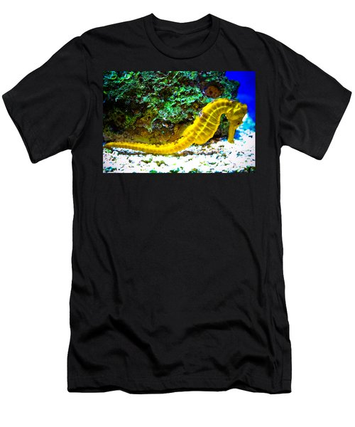 Men's T-Shirt (Slim Fit) featuring the photograph Yellow Seahorse by Toni Hopper