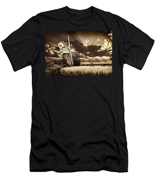 Men's T-Shirt (Slim Fit) featuring the photograph Sepia Sky Windmill by Meirion Matthias