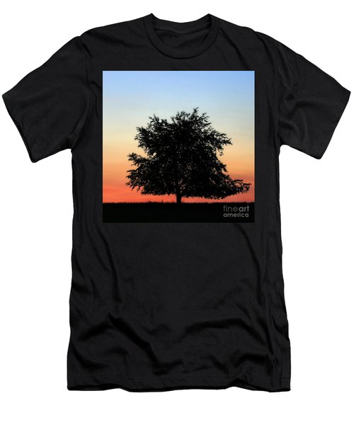 Make People Happy  Square Photograph Of Tree Silhouette Against A Colorful Summer Sky Men's T-Shirt (Athletic Fit)