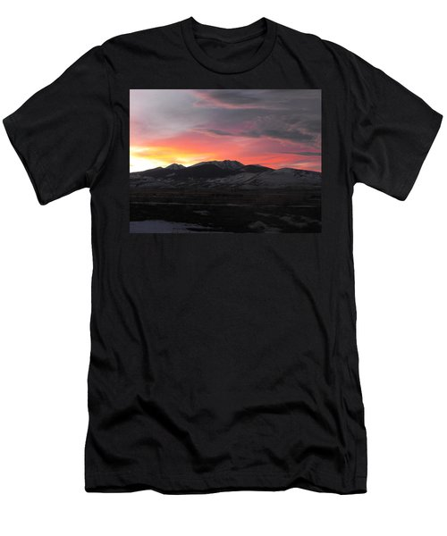 Snow Covered Mountain Sunset Men's T-Shirt (Athletic Fit)