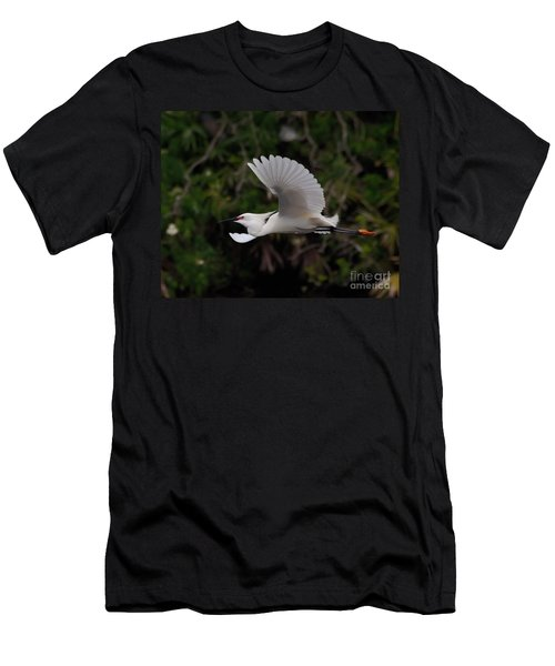 Men's T-Shirt (Slim Fit) featuring the photograph Snowy Egret In Flight by Art Whitton