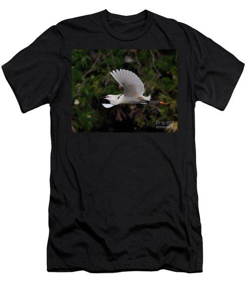 Snowy Egret In Flight Men's T-Shirt (Slim Fit) by Art Whitton