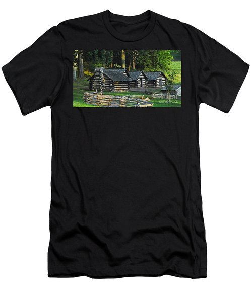 Men's T-Shirt (Slim Fit) featuring the photograph Soldiers Quarters At Valley Forge by Cindy Manero