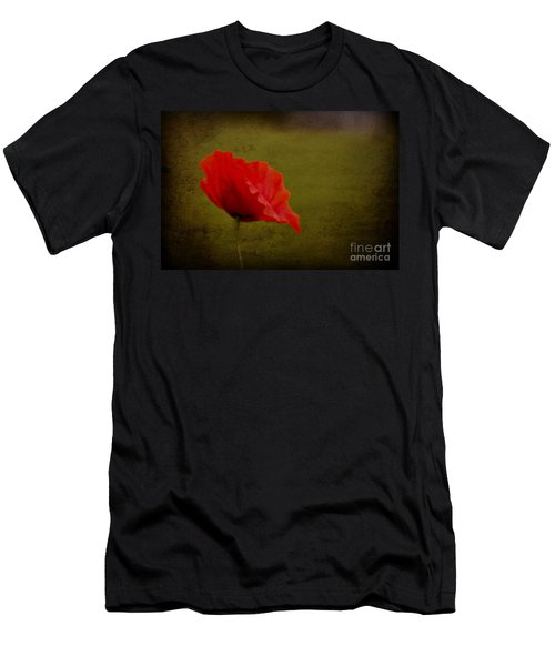 Men's T-Shirt (Slim Fit) featuring the photograph Solitary Poppy. by Clare Bambers