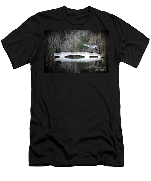 Men's T-Shirt (Slim Fit) featuring the photograph Southern Plantation Flying Egret by Dan Friend