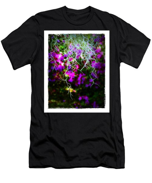 Men's T-Shirt (Slim Fit) featuring the photograph Spanish Moss And Azaleas by Judi Bagwell