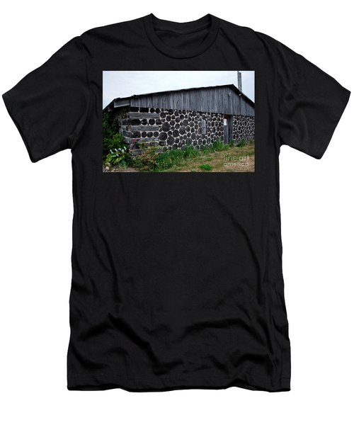 Men's T-Shirt (Slim Fit) featuring the photograph Stacked Block Barn by Barbara McMahon