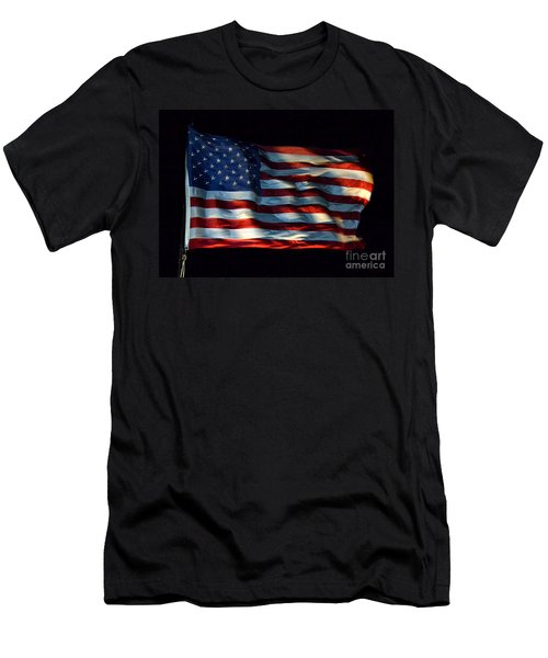 Stars And Stripes At Night Men's T-Shirt (Slim Fit) by Kevin Fortier